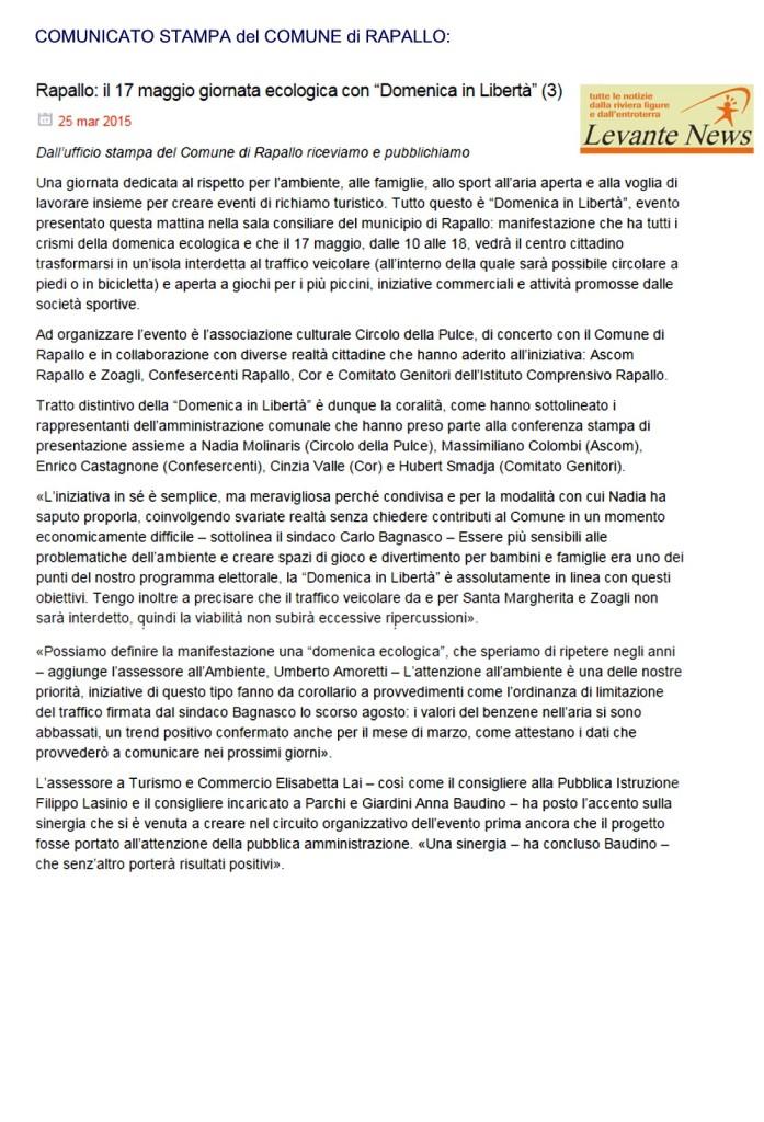 Comunicato stampa Comune di Rapallo